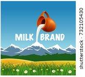 fresh milk in keg pouring down... | Shutterstock .eps vector #732105430