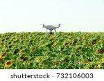 Modern Quadcopter Flying Over...