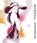 young woman in hat on the... | Shutterstock . vector #732106108