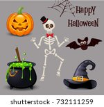happy halloween icon set. | Shutterstock .eps vector #732111259