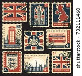 Vector set of postage stamps with british flag, uk map, uk Parliament, London Big Ben, coats of arms of England and Great Britain and other british symbols