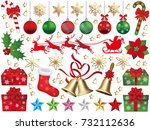 a set of assorted christmas... | Shutterstock .eps vector #732112636