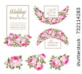 set of wedding invitation card. ... | Shutterstock .eps vector #732114283