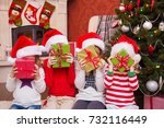 group of four children with... | Shutterstock . vector #732116449
