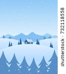 vector illustration  winter... | Shutterstock .eps vector #732118558
