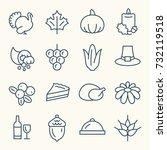 thanksgiving line icon set | Shutterstock .eps vector #732119518