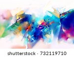 abstract colorful oil painting... | Shutterstock . vector #732119710