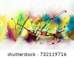 abstract colorful oil painting... | Shutterstock . vector #732119716
