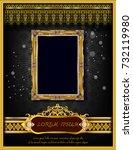 royal frame on black pattern... | Shutterstock .eps vector #732119980