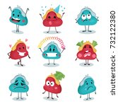 funny purse  wallet characters... | Shutterstock .eps vector #732122380