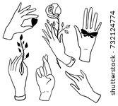 hands set on white background ... | Shutterstock .eps vector #732124774