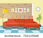 living room with big sofa. loft ... | Shutterstock .eps vector #732125068