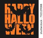 orange inscription halloween...   Shutterstock .eps vector #732129088