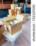 large living room with stack of ...   Shutterstock . vector #732129340