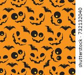 halloween pattern with orange... | Shutterstock .eps vector #732132040