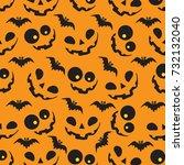 halloween pattern with orange...   Shutterstock .eps vector #732132040