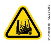 danger forklift trucks sign | Shutterstock .eps vector #732134353