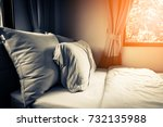 bed maid up with clean white... | Shutterstock . vector #732135988