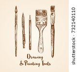 drawing and painting tools hand ...   Shutterstock .eps vector #732140110