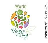 world vegan day illustration... | Shutterstock .eps vector #732143074