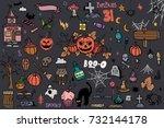 halloween doodle set. creative... | Shutterstock .eps vector #732144178