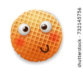 embarrassed  confused smile... | Shutterstock .eps vector #732145756