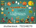 happy halloween card with cute... | Shutterstock .eps vector #732148270