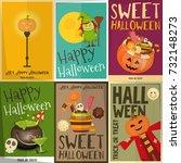 halloween posters set. sweets ... | Shutterstock .eps vector #732148273