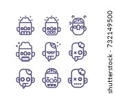 zombie  line vector icon set.... | Shutterstock .eps vector #732149500