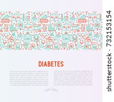 diabetes concept with thin line ... | Shutterstock .eps vector #732153154