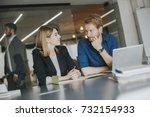 team of business people working ... | Shutterstock . vector #732154933