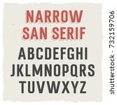 narrow sans serif font in... | Shutterstock .eps vector #732159706