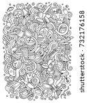 cartoon cute doodles hand drawn ... | Shutterstock .eps vector #732176158