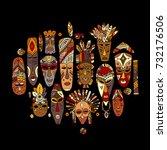 tribal mask ethnic set  sketch... | Shutterstock .eps vector #732176506