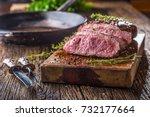 beef steak. juicy medium rib... | Shutterstock . vector #732177664