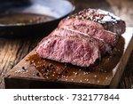 beef steak. juicy medium rib...   Shutterstock . vector #732177844