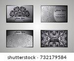 business card  vintage card set ... | Shutterstock .eps vector #732179584