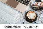 coffee cups  notebooks  plane... | Shutterstock . vector #732180724