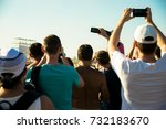 a group of people take pictures ... | Shutterstock . vector #732183670