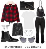 set of stylish clothes ... | Shutterstock . vector #732186343
