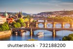 Small photo of Scenic spring sunset aerial view of the Old Town pier architecture and Charles Bridge over Vltava river in Prague, Czech Republic