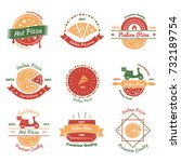 pizza vintage emblems color set ... | Shutterstock .eps vector #732189754