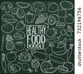 healthy food traditional doodle ... | Shutterstock .eps vector #732196756