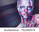 fashion makeup. woman with... | Shutterstock . vector #732200374
