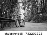 girl on a bike  in the nature | Shutterstock . vector #732201328