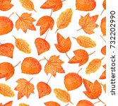 autumn watercolor leaves.... | Shutterstock . vector #732202990