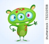 green funny happy cartoon... | Shutterstock .eps vector #732210508
