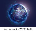 connections above globe  3d... | Shutterstock . vector #732214636