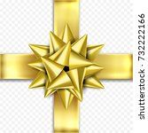 golden gift bow ribbon design... | Shutterstock .eps vector #732222166