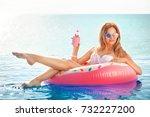summer vacation. woman in...   Shutterstock . vector #732227200